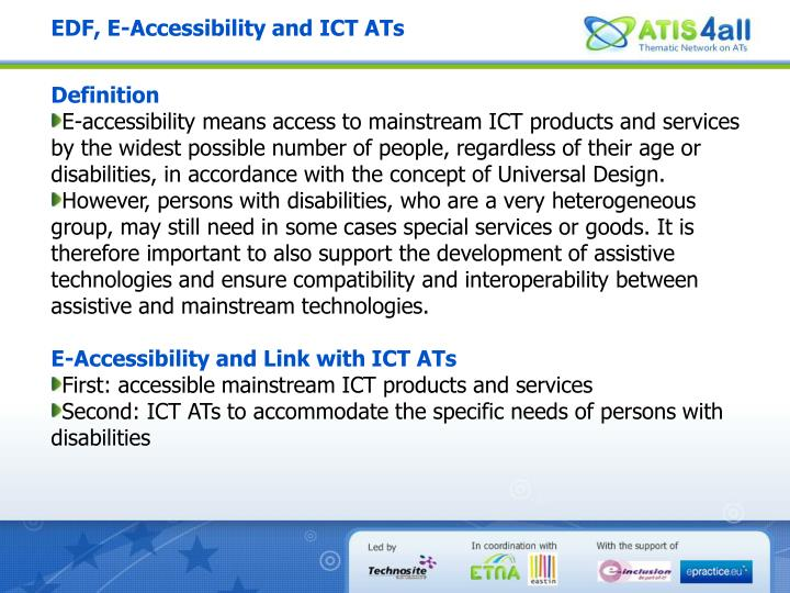 EDF, E-Accessibility and ICT ATs