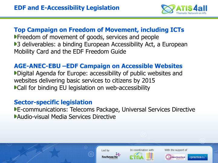 EDF and E-Accessibility Legislation