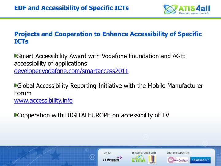 EDF and Accessibility of Specific ICTs