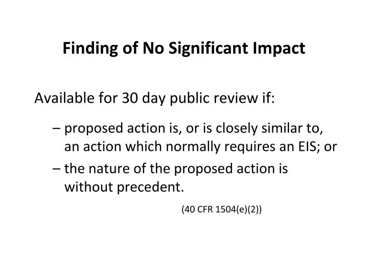 Finding of No Significant Impact