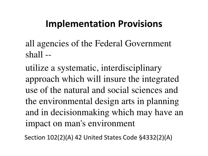 Implementation Provisions