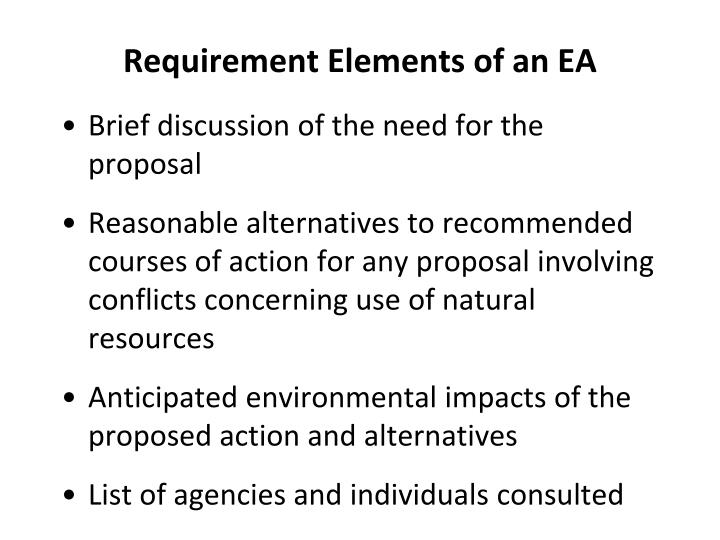 Requirement Elements of an EA