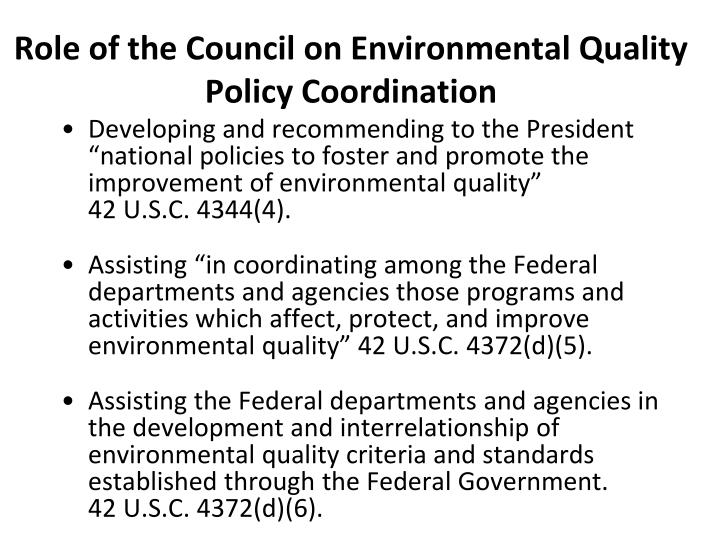 Role of the Council on Environmental Quality