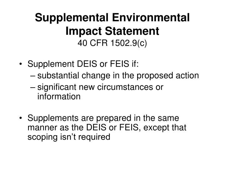 Supplemental Environmental Impact Statement