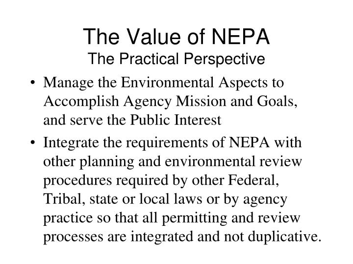 The Value of NEPA