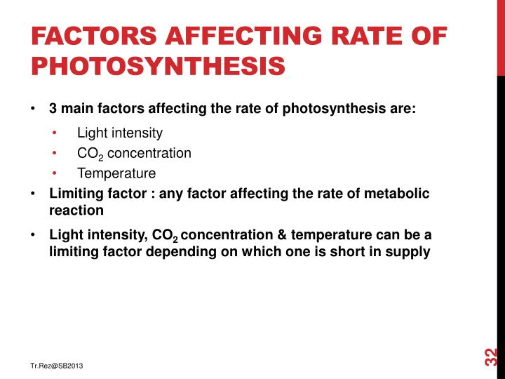 Factors affecting rate of photosynthesis