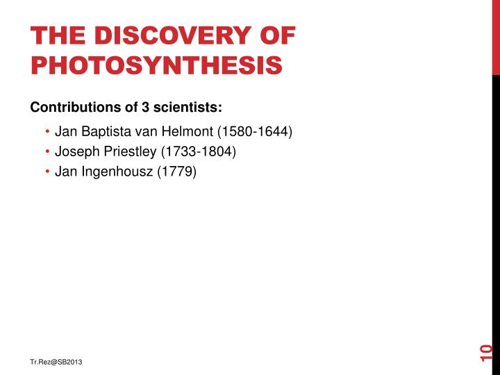 The discovery of photosynthesis