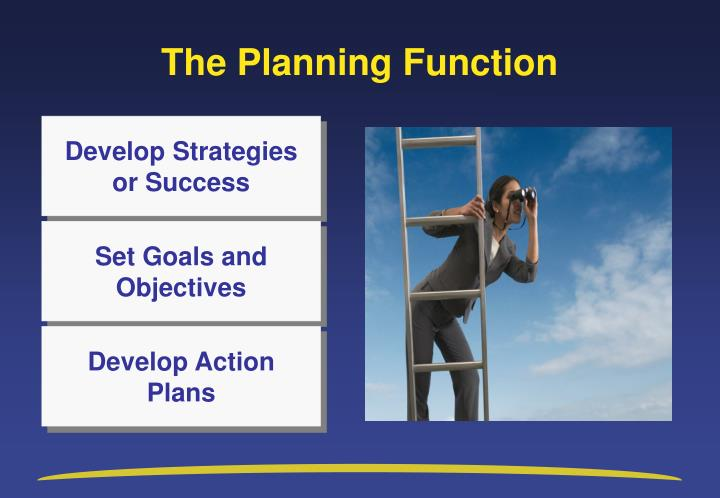 planning function of management ppt In this context planning is a pervasive management function which is accomplished by all levels in the project hierarchy(l), the difference being scope, detail, and the magnitude of the effort planning forms the foundation for future actions, using the past as a guide.
