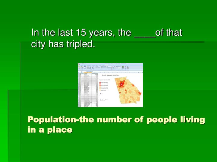 Population the number of people living in a place