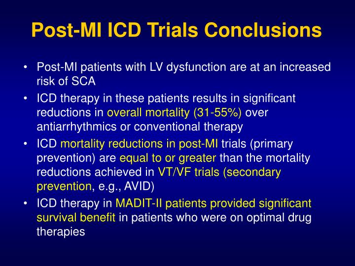 Post-MI ICD Trials Conclusions
