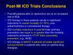post mi icd trials conclusions
