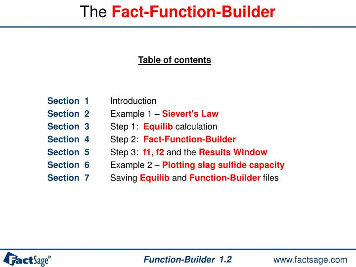 The fact function builder