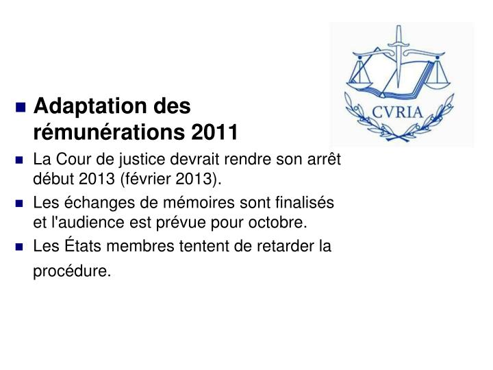Adaptation des rémunérations 2011