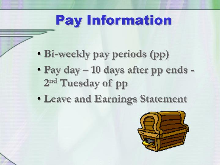 Bi-weekly pay periods (pp)