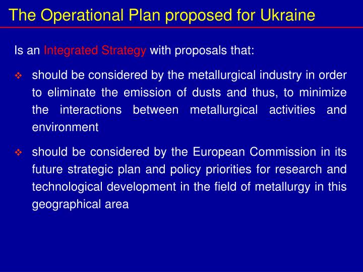 The Operational Plan proposed for Ukraine