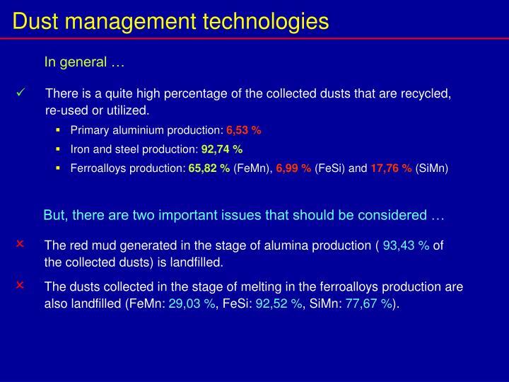 Dust management technologies