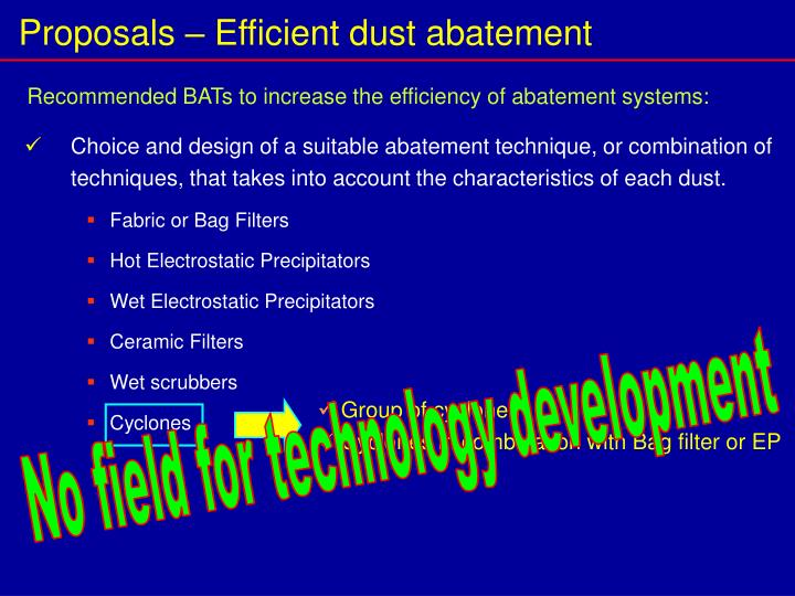 Proposals – Efficient dust abatement