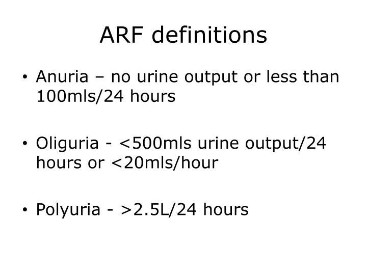 ARF definitions