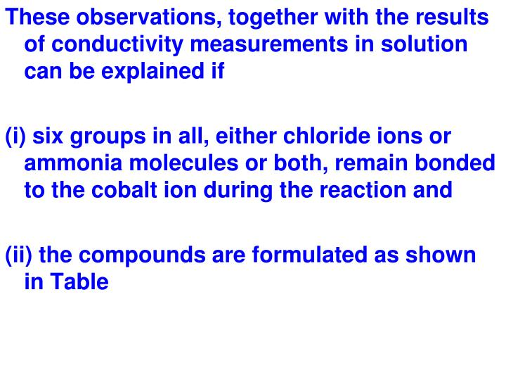 These observations, together with the results of conductivity measurements in solution can be explained if