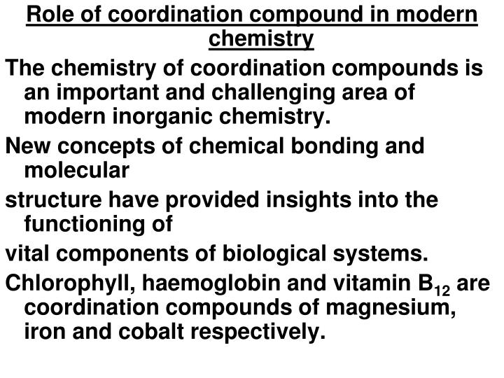 Role of coordination compound in modern chemistry