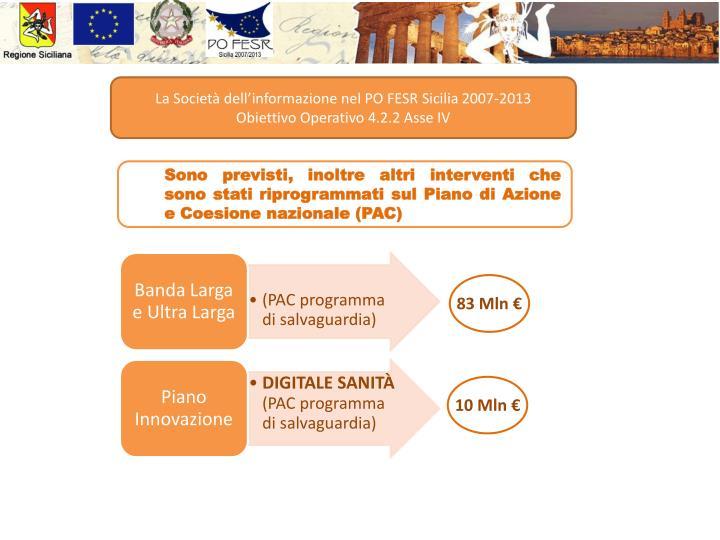 La Società dell'informazione nel PO FESR Sicilia 2007-2013                           Obiettivo Operativo 4.2.2 Asse IV