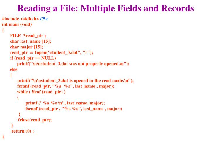 Reading a File: Multiple Fields and Records