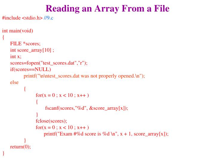 Reading an Array From a File