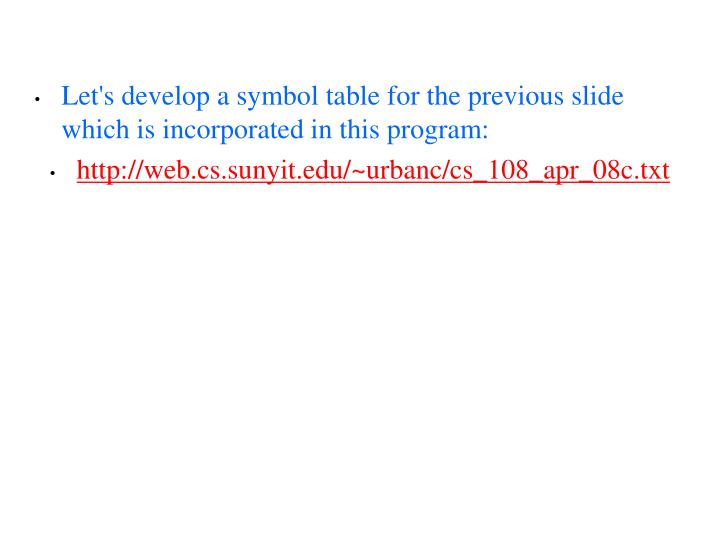Let's develop a symbol table for the previous slide which is incorporated in this program: