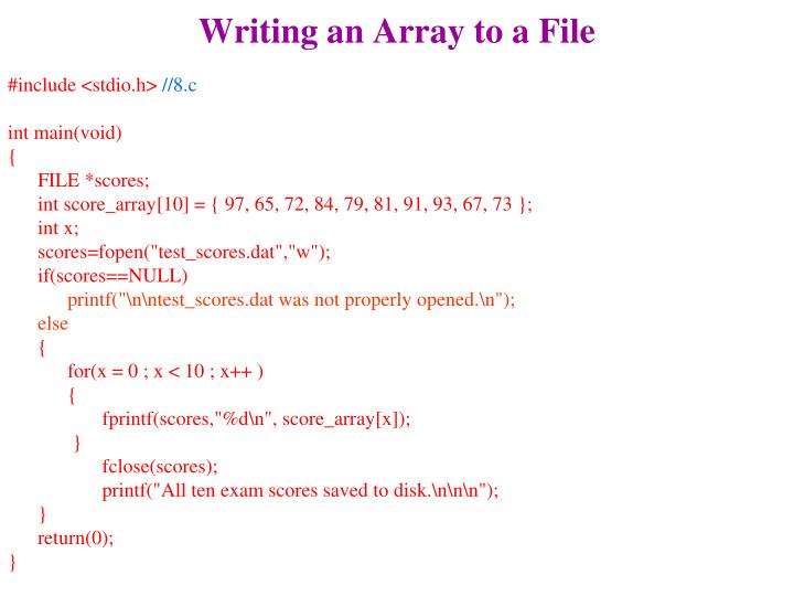 Writing an Array to a File