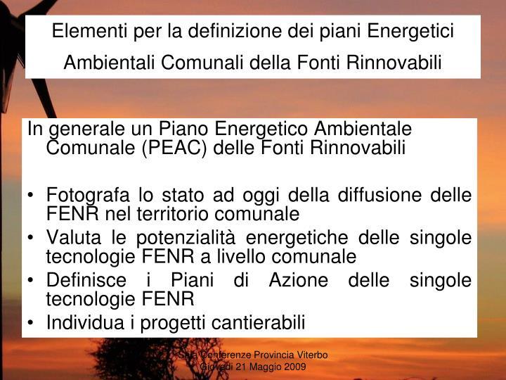 Elementi per la definizione dei piani Energetici Ambientali Comunali della Fonti Rinnovabili