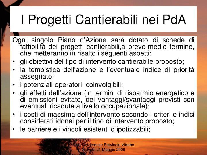 I Progetti Cantierabili nei PdA