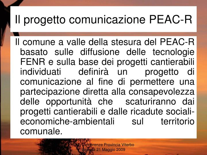 Il progetto comunicazione PEAC-R