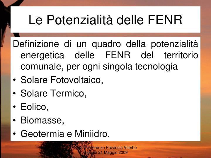 Le Potenzialità delle FENR