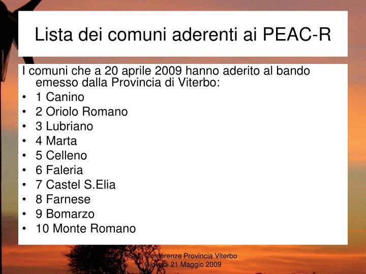Lista dei comuni aderenti ai PEAC-R