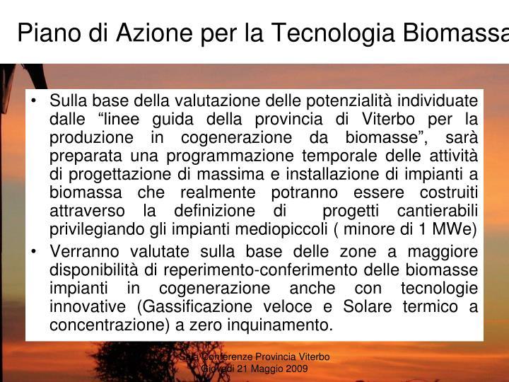 Piano di Azione per la Tecnologia Biomassa