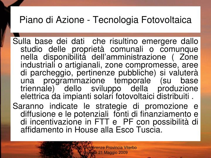 Piano di Azione - Tecnologia Fotovoltaica