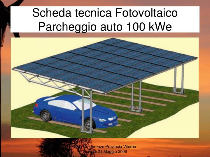 Scheda tecnica Fotovoltaico