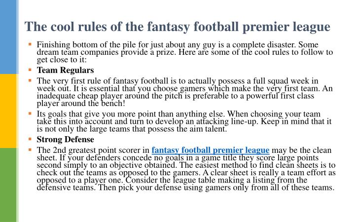 The cool rules of the fantasy football premier