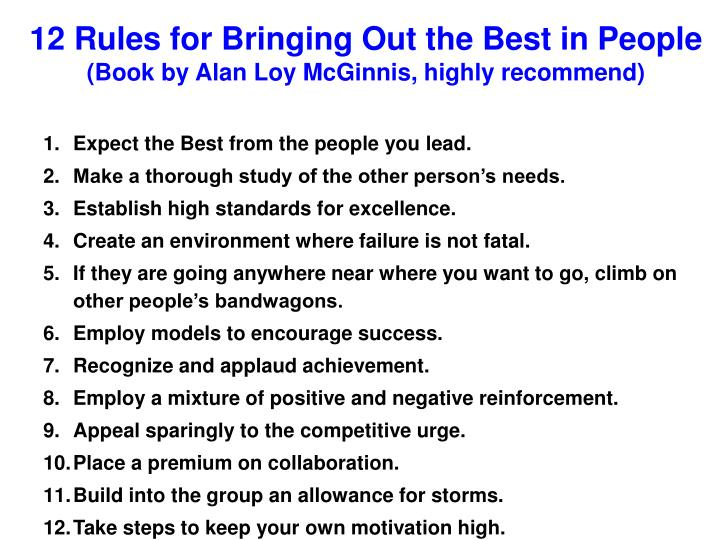 12 Rules for Bringing Out the Best in People