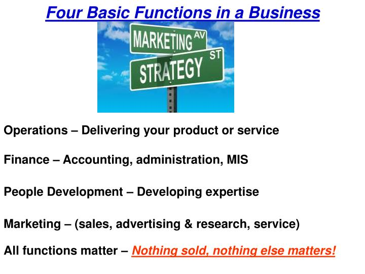 Four Basic Functions in a Business