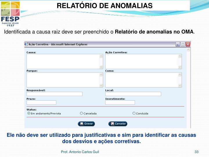 RELATÓRIO DE ANOMALIAS