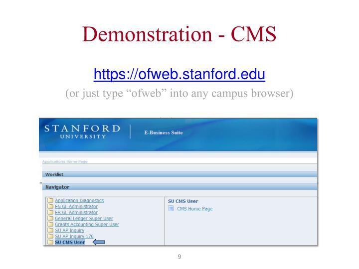 Demonstration - CMS