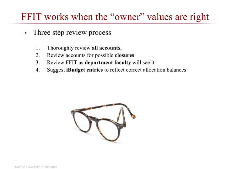 "FFIT works when the ""owner"" values are right"