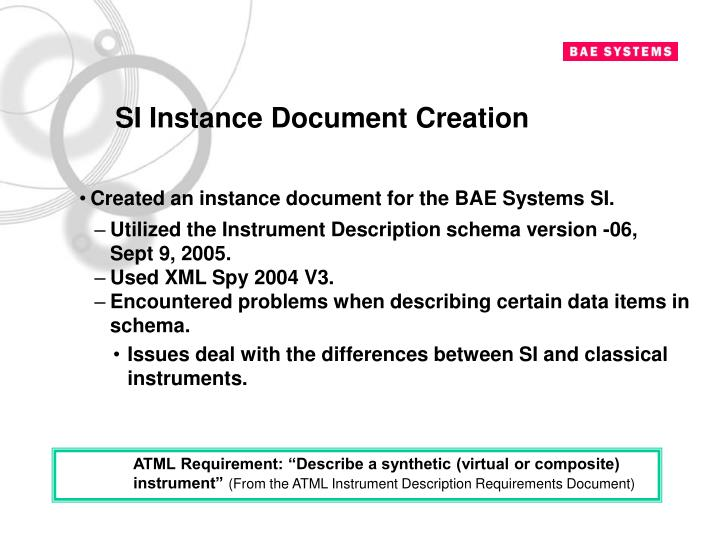 SI Instance Document Creation