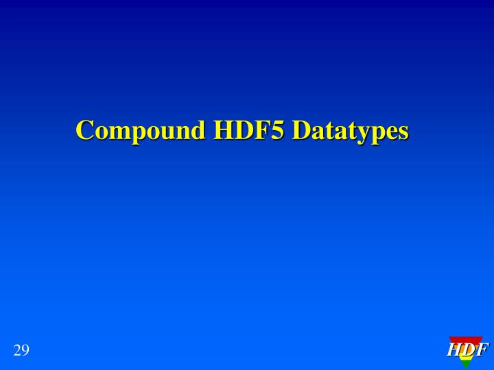 Compound HDF5 Datatypes
