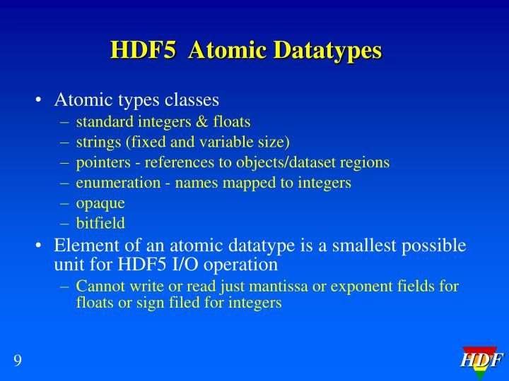 HDF5  Atomic Datatypes