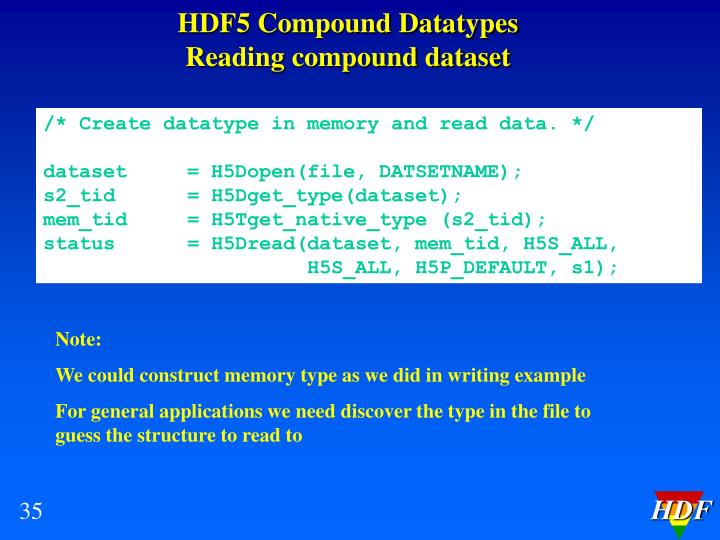 HDF5 Compound Datatypes