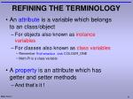refining the terminology