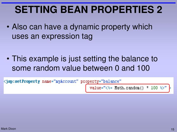 SETTING BEAN PROPERTIES 2