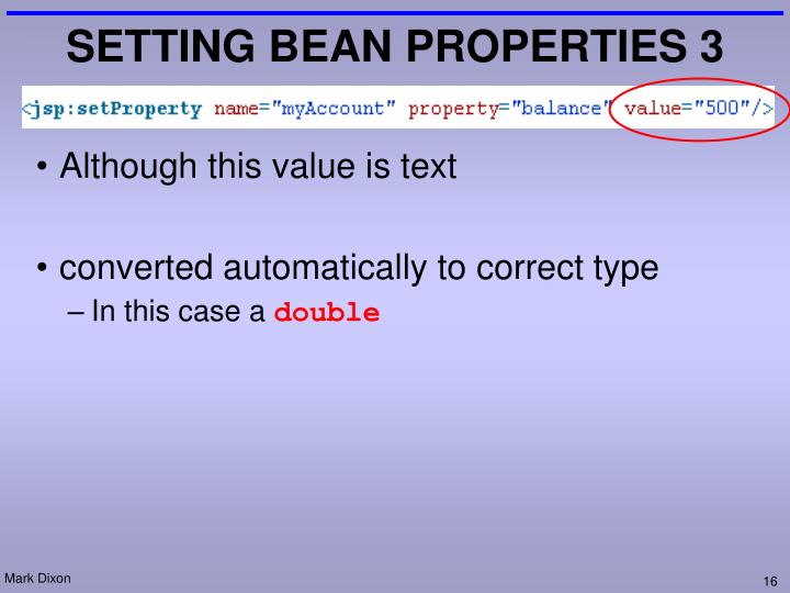 SETTING BEAN PROPERTIES 3
